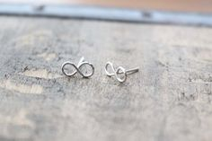 Tiny Infinity Earring Studs  Hand Formed  Sterling by junghwa, $19.00