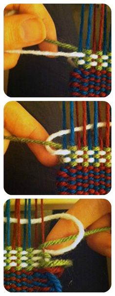 talk color Struggling to change color in your weaving? This technique on a rigid-heddle loom might be worth a try.Struggling to change color in your weaving? This technique on a rigid-heddle loom might be worth a try. Inkle Weaving, Tablet Weaving, Weaving Art, Tapestry Weaving, Weaving Textiles, Weaving Patterns, Diy Tricot Crochet, Navajo Weaving, Weaving Projects