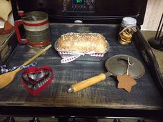 """My custom noodle board and decorations. That is actually foam """"bread"""" Noodle Board, Spray Foam, Spice Cake, Country Crafts, Decoden, Salt Dough, Clays, Country Primitive, Country Chic"""