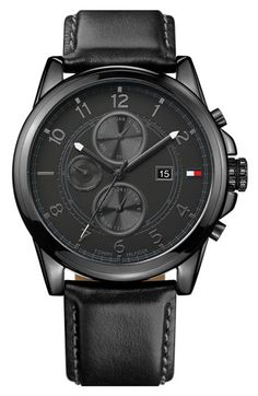 Tommy Hilfiger Multi Eye Leather Strap Watch