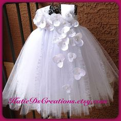 White Lace Tutu Flower Girl Dress / by KatieDscreations on Etsy, $100.00