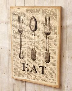 Primitive French Country Chic Retro Diner EAT Burlap Picture Sign Wall Plaque