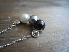 Pearl Silver Necklace / Ombre Necklace / by NurrgulaJewellery, $51.00