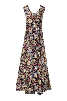 Colorful vintage style flower print v-neck maxi dress from CASTRO's July Lookbook