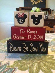 Personalised Wedding Gifts Disney : Disney Wedding Gift - Mickey and Minnie - disney wedding - wood blocks ...