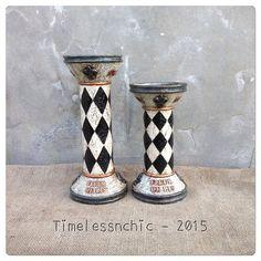 Fleur De Lis Decor  Pillar Candle Holders  French by TimelessNchic