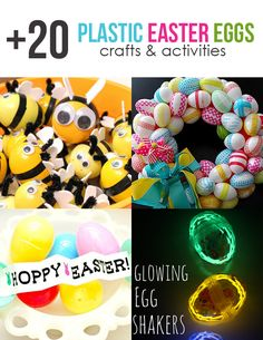 Easter is almost here and I've rounded up over 20 kid-friendly crafts & activities using PLASTIC EASTER EGGS. Logan would get a kick out of the glow in the dark Easter egg shakers and ho...