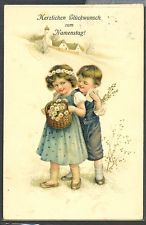 MS142 COUPLE d'ENFANTS MARGUERITES VICTORIAN CHILDREN Gaufrée Embossed HWB