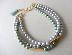 fake pearl beads bracelet. handmade. JAPAN.