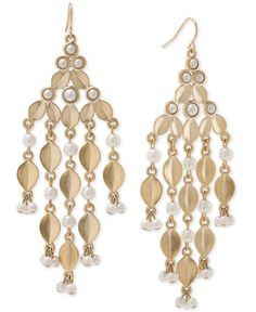 Carolee Gold-Tone Acrylic Pearl Chandelier Earrings