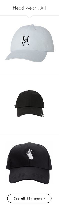 """""""Head wear : All"""" by secret-monsters ❤ liked on Polyvore featuring accessories, hats, fillers, caps, snapback hats, embroidery caps, embroidered snapbacks, bills hat, snap back cap and accessories - hats"""
