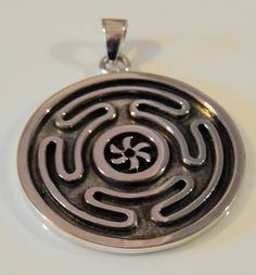 Wheel of HECATE Pendant .925 Sterling Silver DARK MOON Goddess HEKATE Amulet Pendant
