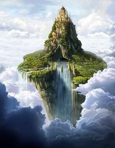 This illustration evokes the definition of High Fantasy -- books in which the author creates their own magic world. Different races, religions, and languages proliferate, and the boundaries exist only in the author's imagination. Fantasy City, Fantasy Castle, Fantasy Kunst, Fantasy Places, Fantasy World, Fantasy Island, Castle In The Sky, City In The Sky, Fantasy Setting