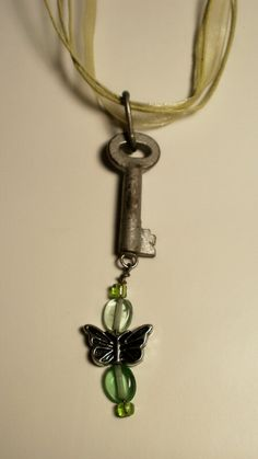 Antique Skeleton Key and Butterfly Neckace by TheTwistedCrafts, $19.00