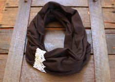 Brown and lace Jersey Scarf, Such a pretty scarf, it looks Chocolate inspired !