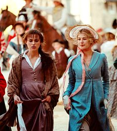Pride and Prejudice, Kiera Knightley and Rosamund Pike portraying the Bennet sisters.