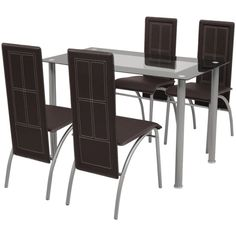 Brown Dining Table Chairs Set of 5 Tempered Glass Tabletop Recliner Seating Glass Dining Table Set, Dining Table Chairs, Kitchen Chairs, Dining Room Furniture, Kitchen Dining, Design Simples, Table Design, Table And Chair Sets, Design Moderne
