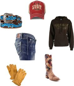 Not big on the boots, but love the hoodie and belt and hat and jeans!