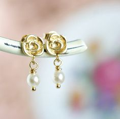 Gift For Wife Girlfriend Petite Gold Flower by JacarandaDesigns