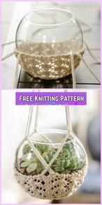 Knit Terrarium Hanger Free Knitting Pattern - of knitting loom of knitting loom Rib Stitch Knitting, Loom Knitting, Knitting Patterns Free, Free Pattern, Knit Basket, Yarn Thread, Tear, Crafty Craft, Knitting Projects