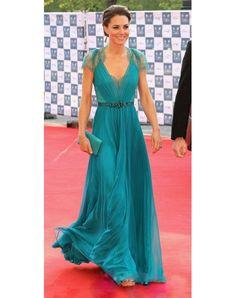 Kate Princess V-neck Blue Chiffon Dress