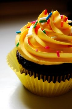 Yellow Frosted Chocolate Cupcake with Sprinkles cupcakes