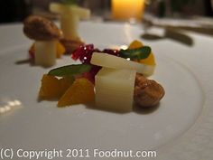The French Laundry: Hearts of Palm salad with sention blossoms, candied cashews, beet gelee, and blood orange was a beautiful looking salad with extremely fresh hearts of Palm along with a nicely contrasting blood orange gelee.
