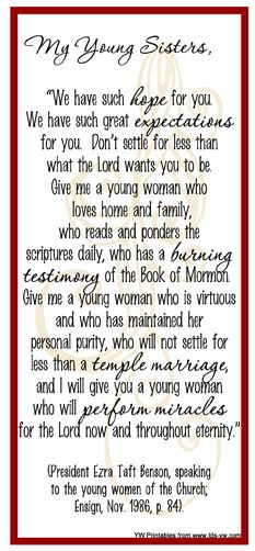 LDS Young Women: Bookmark - Give me a Young Women...
