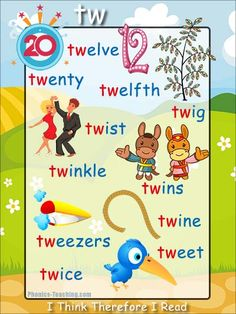 tw words - FREE Printable Phonics Poster - words starting with tw - Perfect for Word Walls, Auditory Discrimination and Spelling Lessons. Phonics For Kids, Phonics Reading, Teaching Phonics, Kids Reading, Teaching Reading, Teaching Kids, English Phonics, English Vocabulary, Teaching English