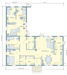 New House Plans, Small House Plans, L Shaped House, Sims House, My Dream Home, Planer, New Homes, Floor Plans, House Design