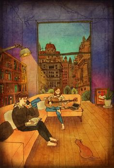 """Love is in Small Things: Artist """"Puuung"""" captures those little moments that make love whole in these heartwarming illustrations. Couple Illustration, Illustration Art, Puuung Love Is, Art Amour, Ecole Art, Wow Art, Couple Drawings, Korean Artist, Real Love"""