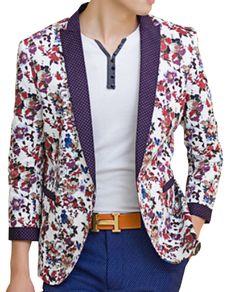 | www.pilaeo.com #men's #luxury #fashionDotted Lapel Multicolor Floral White Blazer