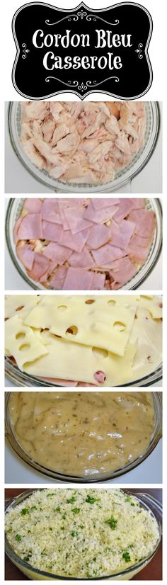 Cordon Bleu Casserole with rotisserie chicken, ham and swiss cheese.
