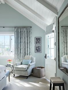 gorgeous monochromatic soft blue bedroom by Mark D. Sikes