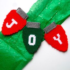 """Plastic Canvas: J-O-Y Christmas Bulb Magnets (set of 3) -- """"Ready, Set, Sew!"""" by Evie"""