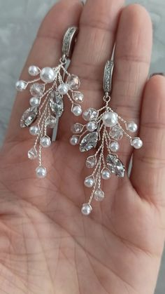 Bridal pearl jewelry set: long pearl headpiece and branch earrings, Wedding silver hair piece and earrings with pearls, bridal hair piece / Buy on Etsy / EDAccessory, Ready to ship! Single Pearl Necklace, Pearl Necklace Wedding, Bridal Earrings, Pearl Jewelry, Beaded Earrings, Wedding Jewelry, Beaded Jewelry, Jewelery, Silver Jewelry
