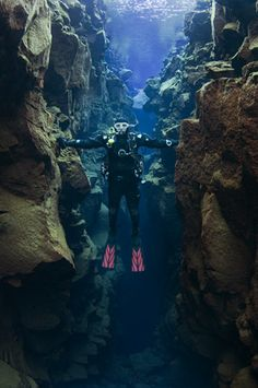 On To-Do List - touch 2 continents at the same time. Silfra in Thingvellir National Park, Iceland - DIVE.IS - Silfra