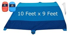 iShoyu 10' x 9' Sand Free Waterproof Sunset Beach Blanket - Metal Spike Anchors, Sand Pockets - 100% Parachute Nylon - Outdoors BBQ Camping Hiking Picnic - Perfect Fits 8 Seated Adults (Blue Sky). ✔️ GONE ARE THE DAYS OF SAND STICKING TO YOUR BEACH BLANKET - This beach blanket is made of high quality 100% Parachute 210T Ripstop Nylon material. Beach towels are a thing of the past. Remember the days when sand stuck to your beach towel like a magnet? We solved that problem by using a…