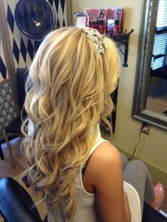 ohhhhh I love this wedding hair! love the jeweled headband! but I'd still like a veil