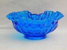 "Fenton Glass Thumbprint Colonial Blue Double Crimped  8"" Glass Bowl c. 1964-1973 #Thumbprint #Fenton"