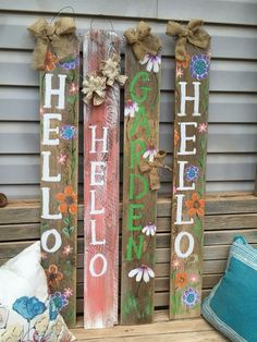 41 Marvelous Spring Porch Sign Decor Ideas & Designs For 2020 - Does it ever feel like time stands still in your miniature? The dolls stay the same age, and there's no sign of holidays or seasons passing them by. Wood Pallet Art, Pallet Crafts, Wooden Crafts, Diy Crafts, Wooden Welcome Signs, Porch Welcome Sign, Wooden Signs, Patio Signs, Front Porch Signs