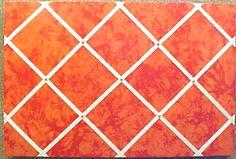 "Orange Textured  custom fabric covered cork bulletin board with Cream Crisscross message ribbons  Code 11005 16"" x 24""  $49.90"