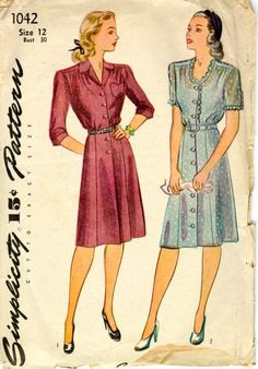 1940s Simplicity pattern for shirt dresses for informal and dressier occasions.
