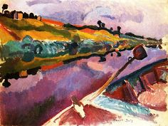 Colors!! The Loir- View from the Artist's Boat, 1906. Raoul Dufy was a French Fauvist painter. He developed a colorful, decorative style that became fashionable for designs of ceramics and textiles.