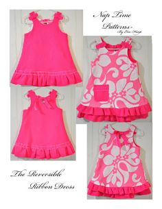 Free Sewing Pattern for Reversible A Line Dress: I can see making 3 coordinating dresses like this---one day!
