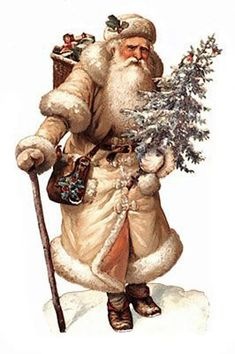 Victorian Christmas Card / Father Christmas Father Christmas walks along with walking stick in one hand, tree in the other and basket on his back Coat of light (beige?) skin with fur trim Source: Winter Musgrave @ Picasa Web Albums Christmas Scenes, Noel Christmas, Victorian Christmas, Father Christmas, Xmas, Victorian Angels, Primitive Christmas, Retro Christmas, Country Christmas