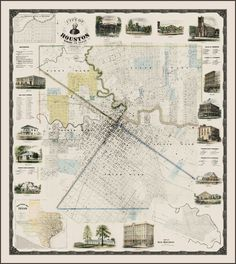 The Antiquarium - Antique Print & Map Gallery - W. E. Wood - City of Houston, Wood - Limited Edition Reproduction (small) Reproduction