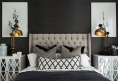 hamptons-style-master-bedroom-with-black-wall-and-tufted-headboard Dormitorio principal estilo hamptons con cabecero negro con paredes y mechones Home Bedroom, Bedroom Furniture, Bedroom Decor, Bedroom Ideas, Headboard Decor, Black Furniture, Bedroom Designs, Dream Bedroom, Dining Furniture