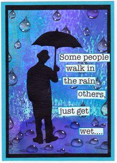 "I added ""Walking in the Rain - Karen R"" to an #inlinkz linkup! Tim Holtz umbrella man  Designs by Ryn rain drops"