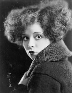 Clara Bow, 1923 Clara Bow by Max Munn Autrey is as chilling as it is glamorous – capturing the star's beauty but also an unnervingly blank expression. Bow's fashionable heavy makeup and outrageously bouncy bobbed hair are highlighted by soft 'beauty' lighting, but undermined by that jumper. This photograph was taken in 1923, the year that Bow left her home in Prospect Heights, New York, to move to Hollywood. She would become one of the silent era's biggest stars.